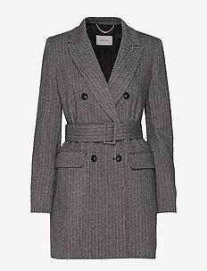 TIFFANY - vestes en laine - grey pin-strip. herringbone
