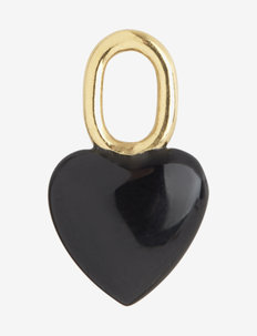 Onyx Heart Charm Gold HP - hangers - gold