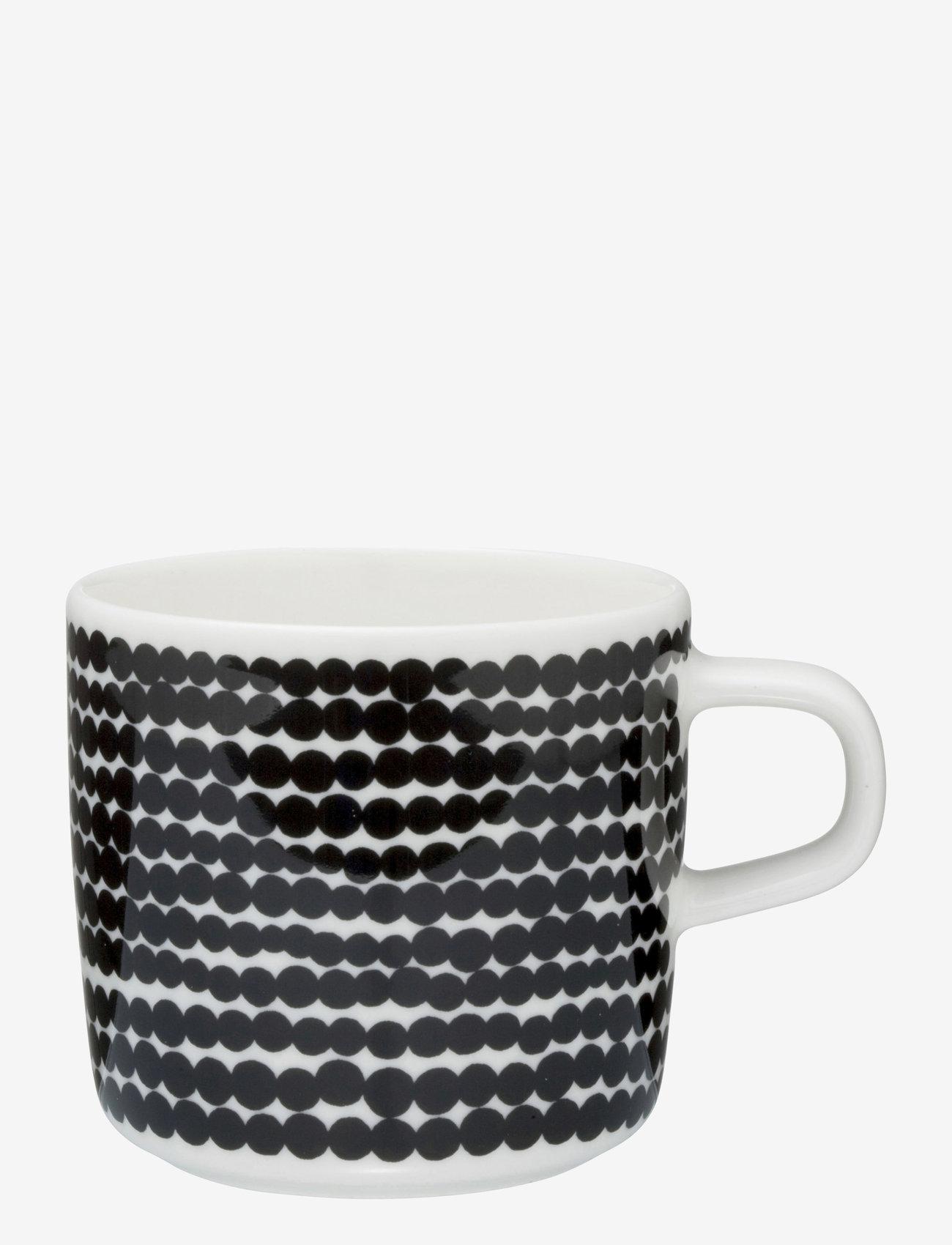 Marimekko Home - SIIRTOLAPUUTARHA COFFEE CUP - kaffekopper - white,black/räsymatto - 0