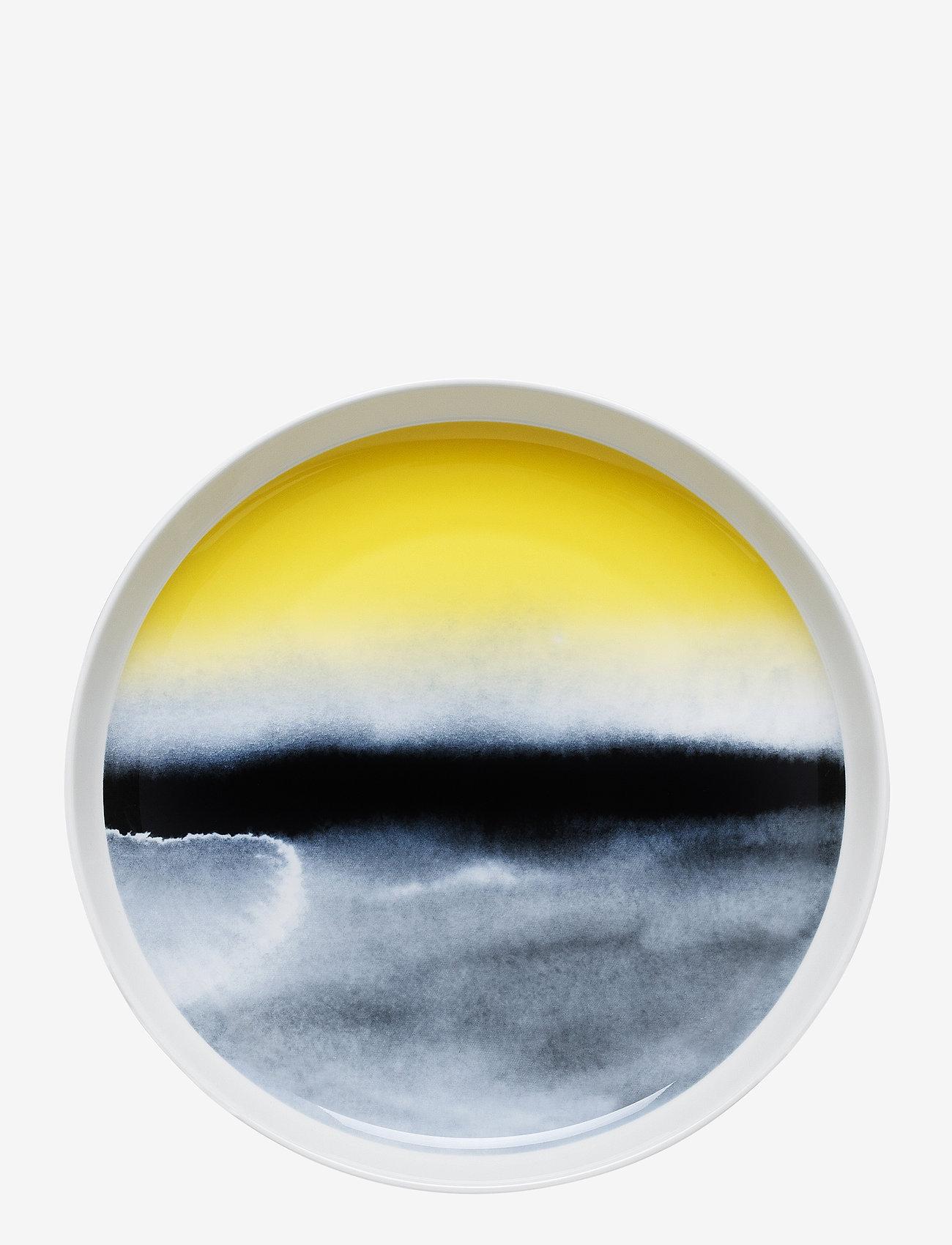 Marimekko Home - SÄÄPÄIVÄKIRJA PLATTER - middagstallerkner - white,black,yellow - 0