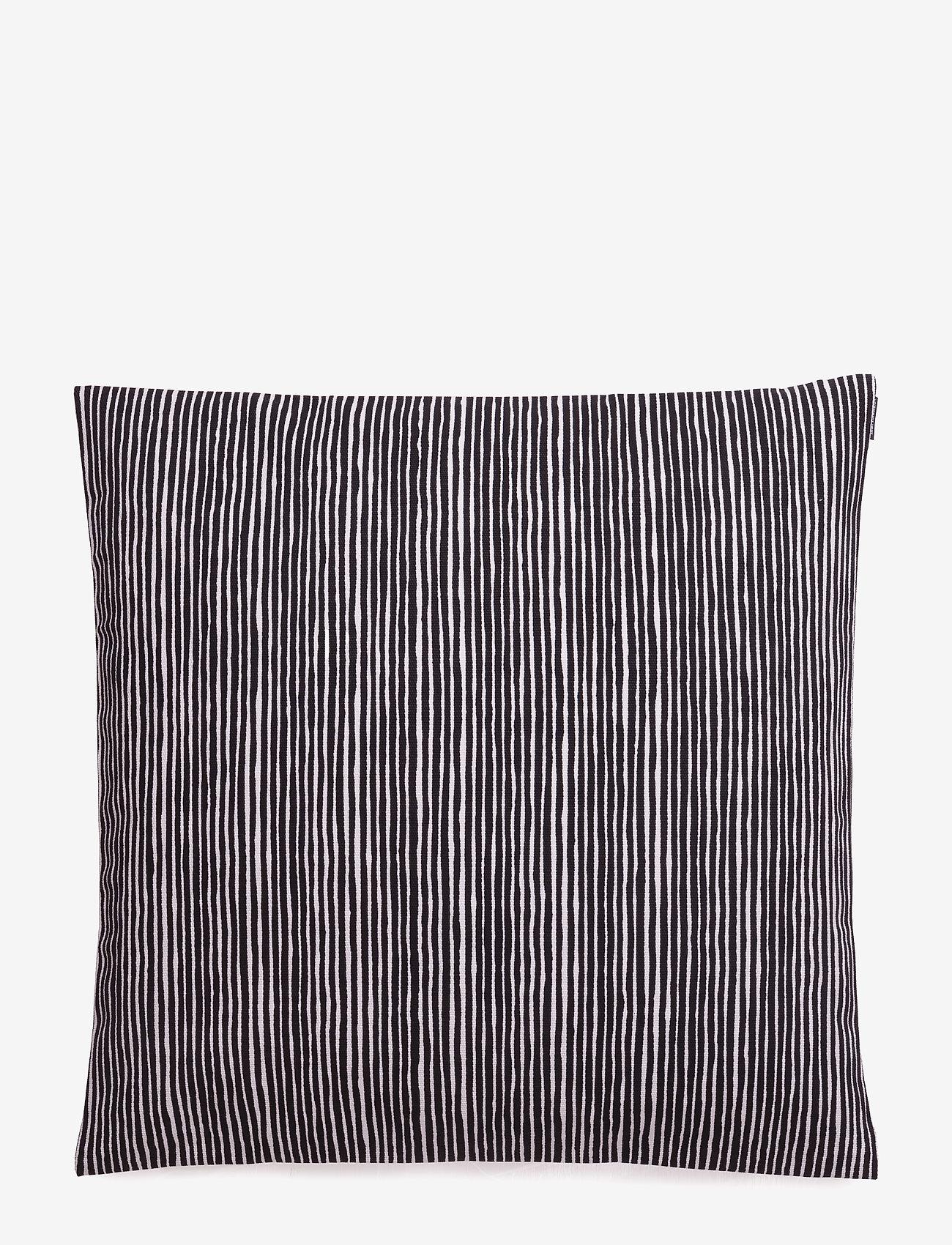 Marimekko Home - VARVUNRAITA CUSHION COVER - poszewki na poduszki ozdobne - black, white - 0