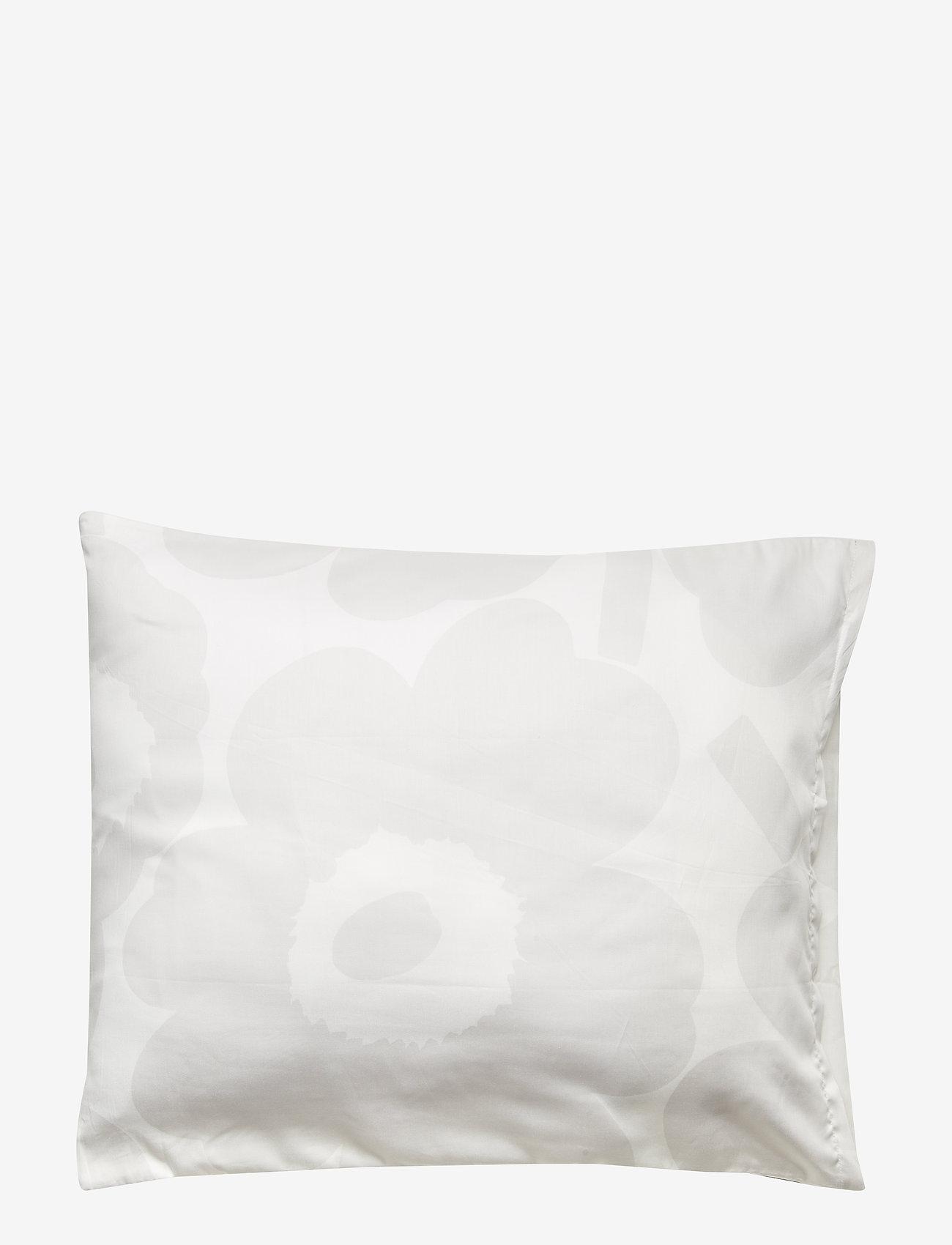 Marimekko Home - UNIKKO SATIN PILLOW CASE - white, light grey - 1