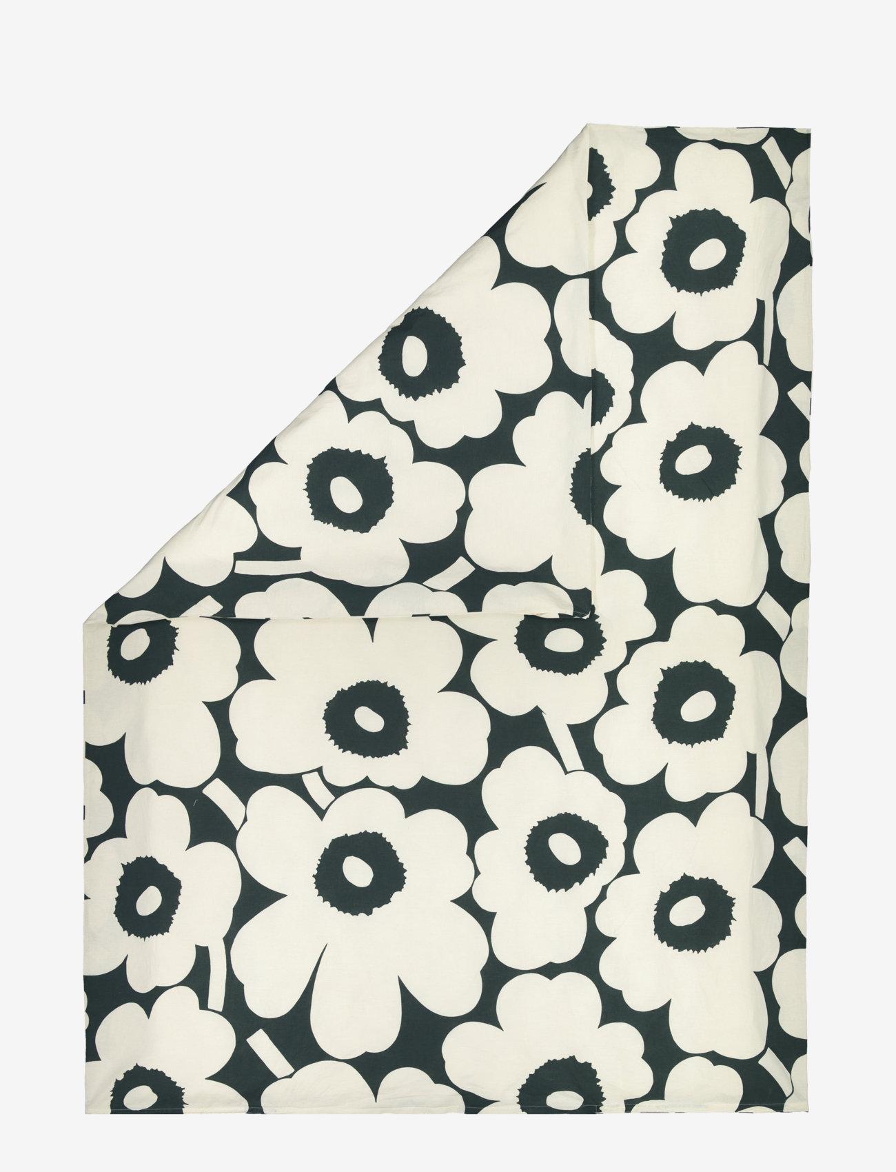 Marimekko Home - UNIKKO HEMP/COTTON DUVET COVER - housses de couette - dark green, - 0
