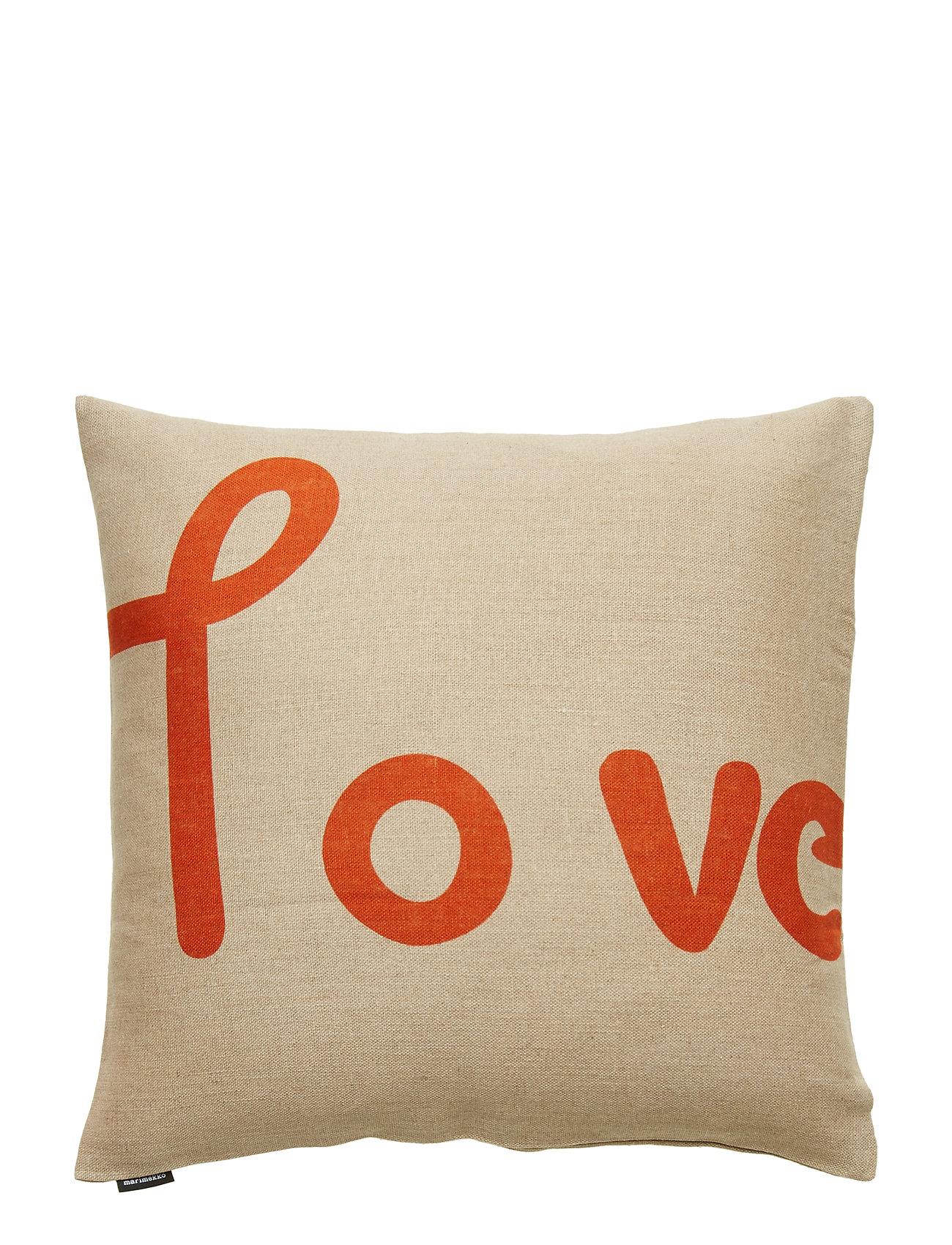 Marimekko Home LOVE CUSHION COVER - LINEN, ORANGE