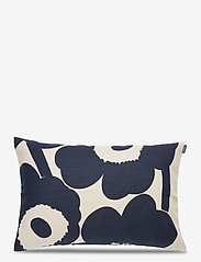 Marimekko Home - UNIKKO CUSHION COVER - pudebetræk - light linen, dark blue - 0
