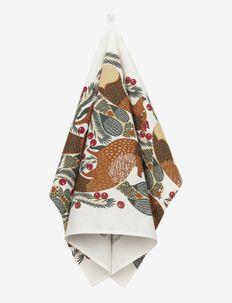 KETUNMARJA KITCHEN TOWEL 47X70 - viskestykker - white/ brown/ red/ dark green