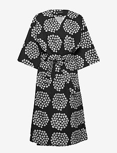 Puketti bathrobe - BLACK, WHITE, BLACK