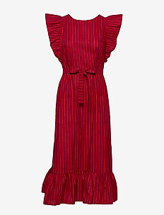 Mari Apron dress - DARK RED, RED