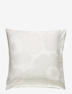 Unikko Satin pillow case - WHITE, LIGHT GREY