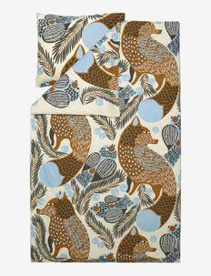 KETUNMARJA DUVET COVER 150X210 CM - duvet covers - dark grey/ cinnamon/ light blue