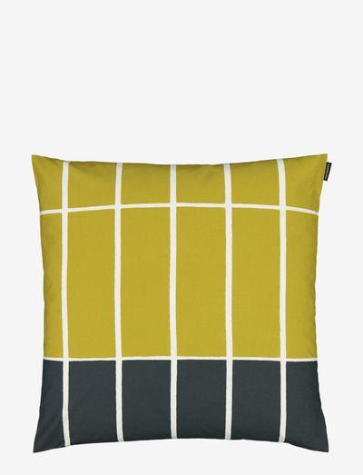 TIILISKIVI CUSHION COVER 50X50CM - pudebetræk - dark green, beige, lime