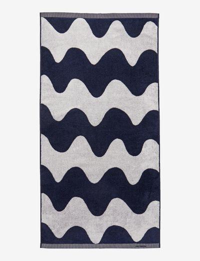 LOKKI BATH TOWEL - håndklæder - off-white, dark blue