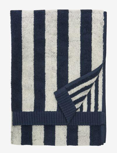 KAKSI RAITAA HAND TOWEL 50X70 - håndklæder - sand/dark blue