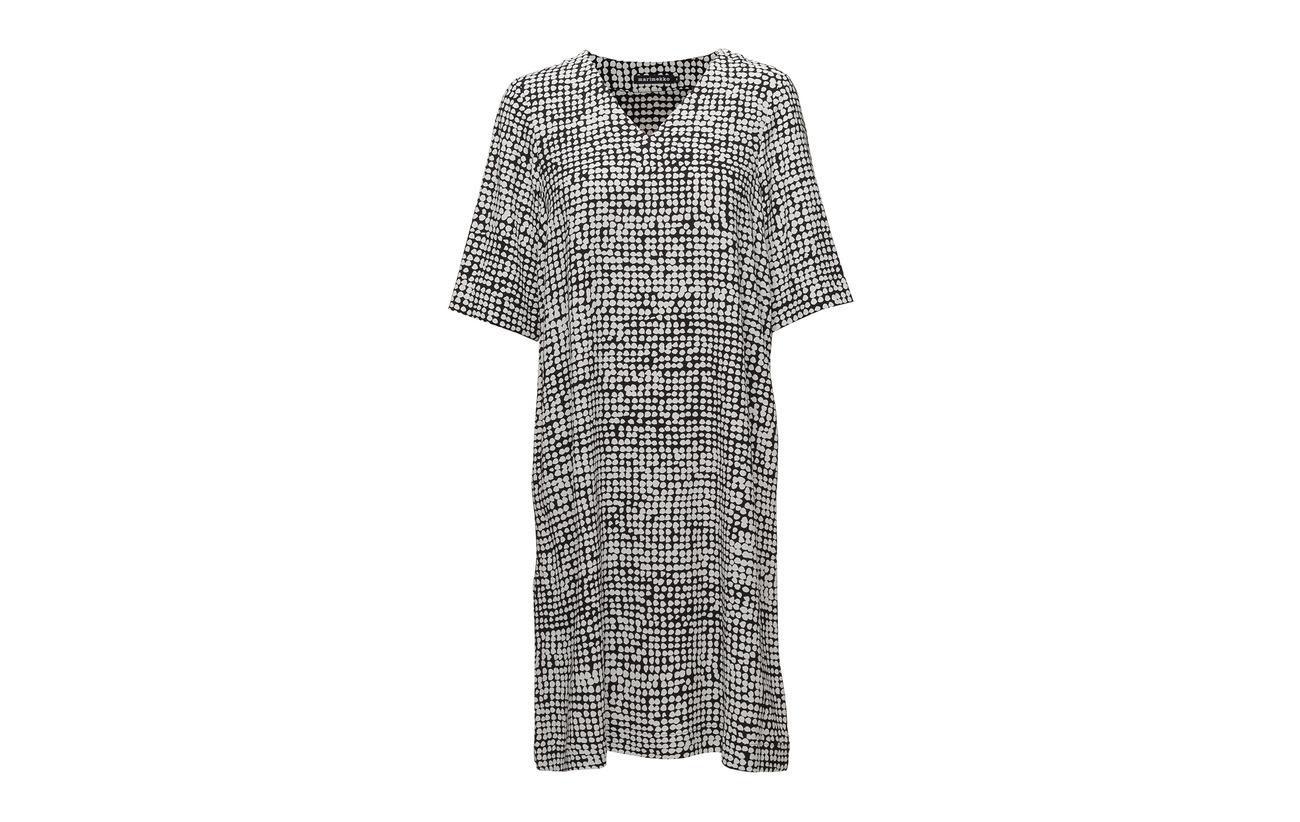 Dress Basaltti 100 Black Marimekko Viscose white Off vwppq8