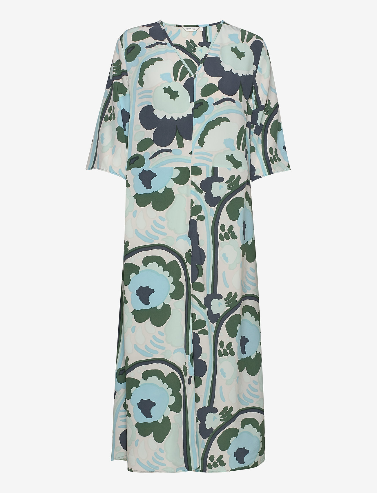 Marimekko - SOLMU KARUSELLI - midi kjoler - beige, dark green, turquoise - 0