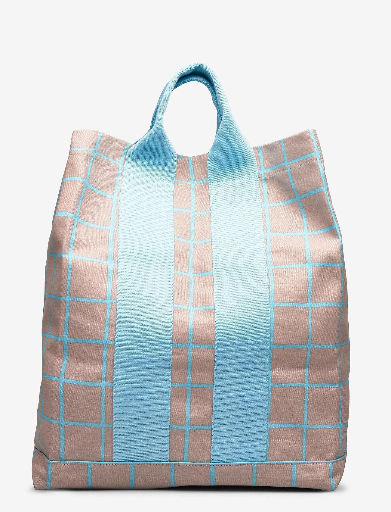 Marimekko - KAINO ISO RUUTU BAG - casual shoppers - beige, turquoise - 0