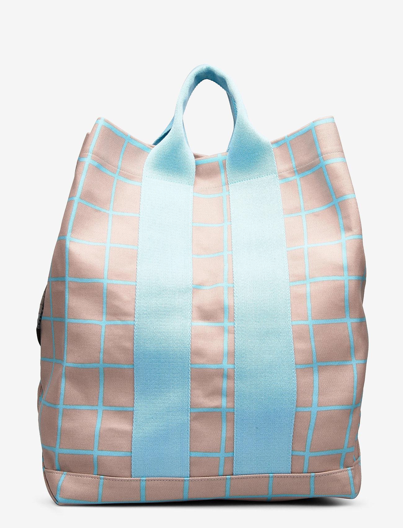 Marimekko - KAINO ISO RUUTU BAG - casual shoppers - beige, turquoise - 1