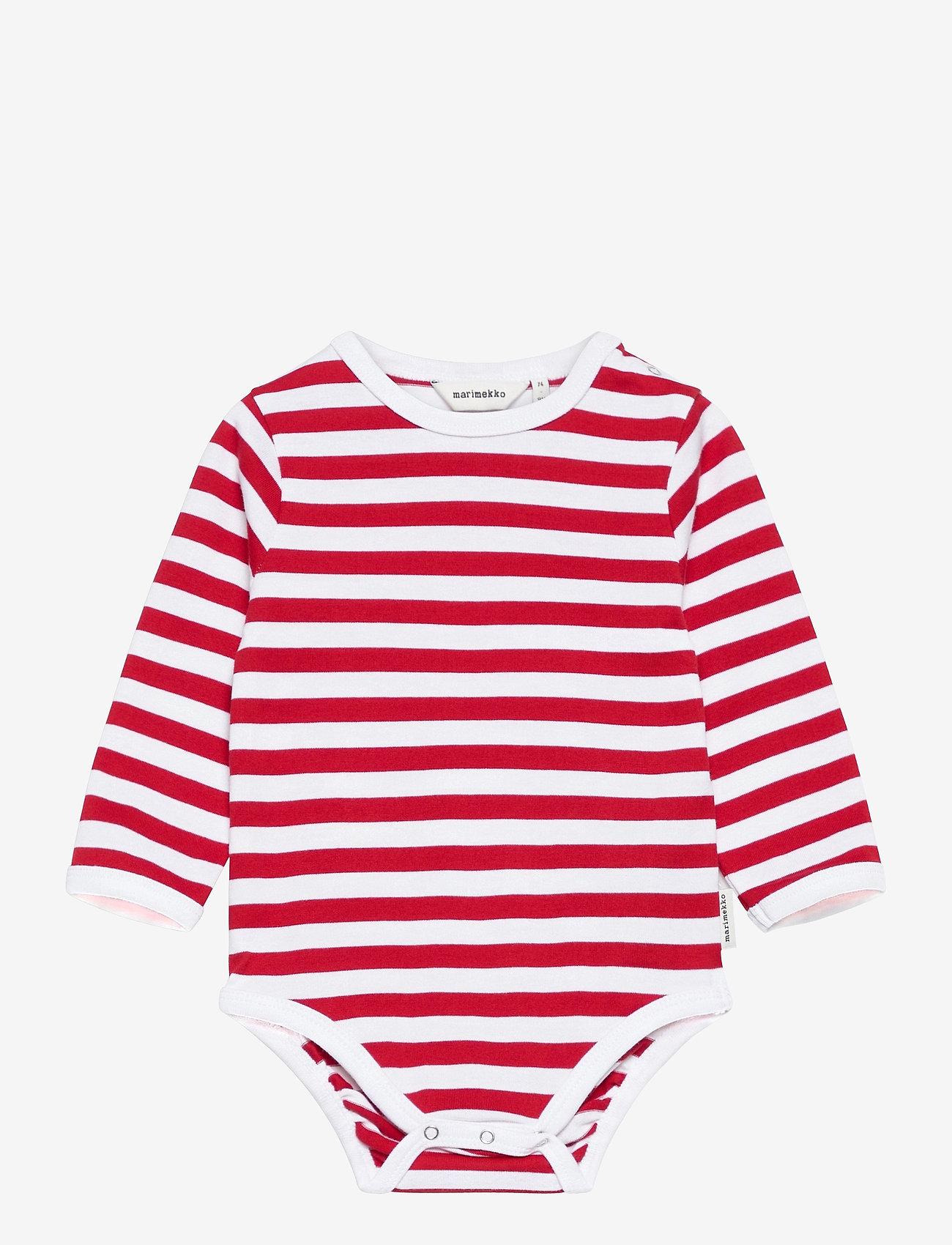 Marimekko - VINDE TASARAITA BODYSUIT - długie rękawy - white, red - 0