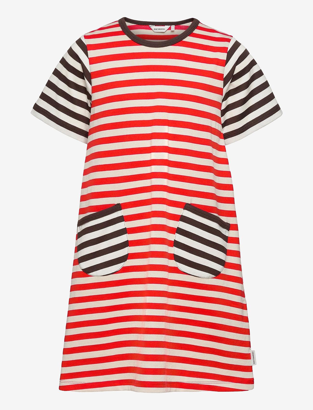 Marimekko - AHDE TASARAITA DRESS - sukienki - orange red, light beige - 0