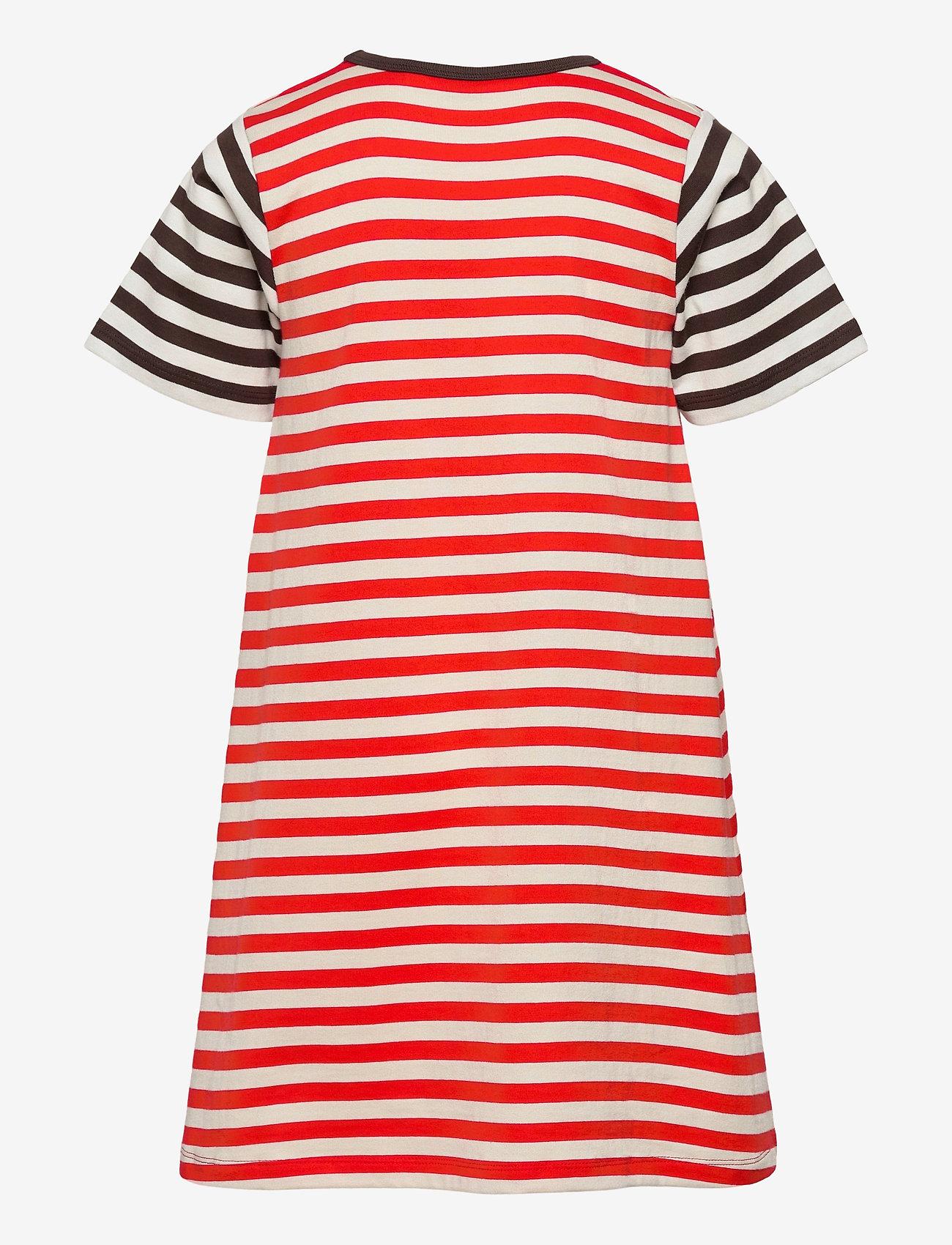 Marimekko - AHDE TASARAITA DRESS - sukienki - orange red, light beige - 1