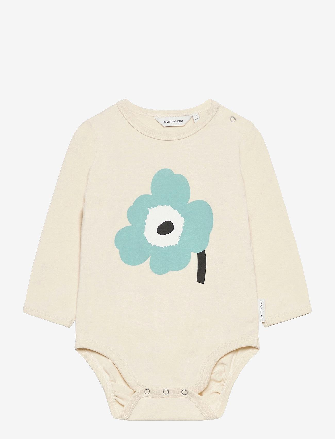 Marimekko - VINDE UNIKKO PLACEMENT BODYSUIT - długie rękawy - beige, light turquoise, black - 0