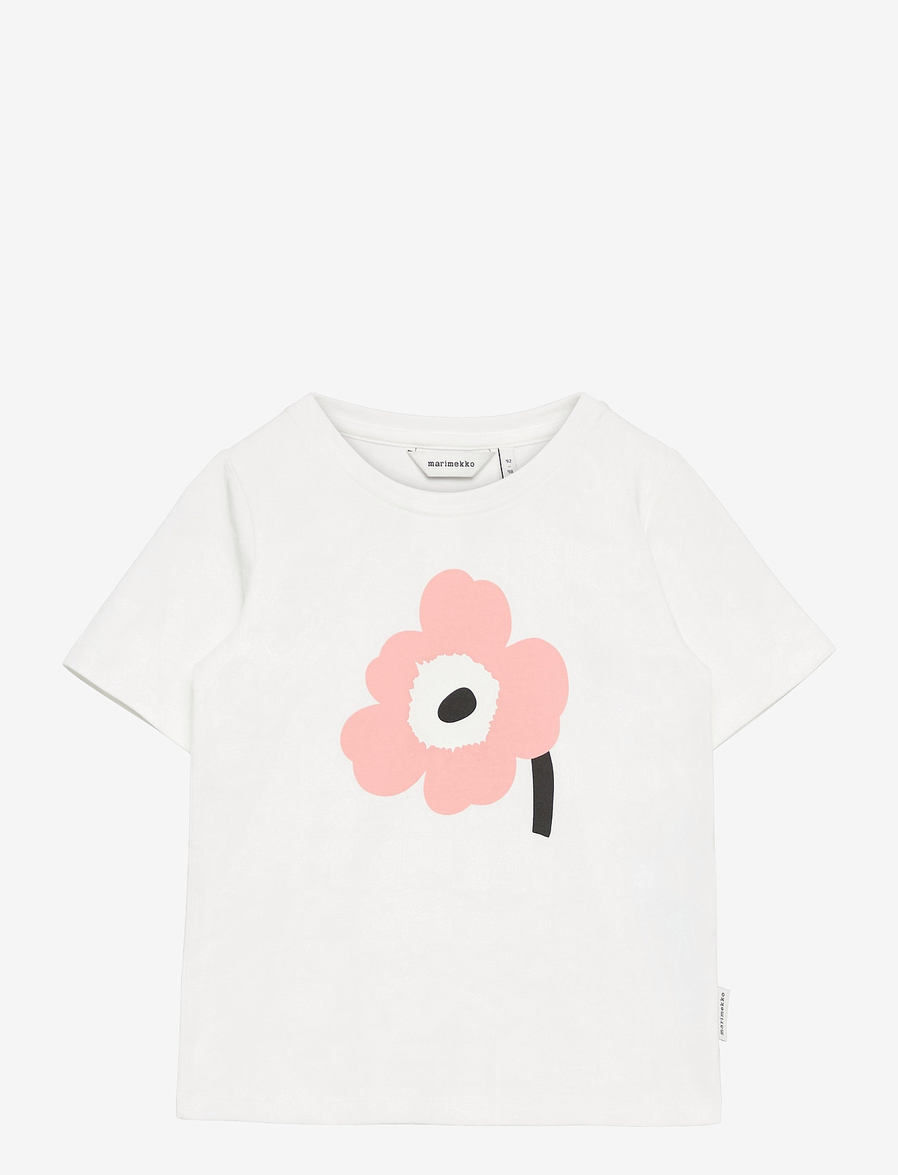 Marimekko - SOIDA UNIKKO PLACEMENT T-SHIRT - krótki rękaw - white, rose, black - 0
