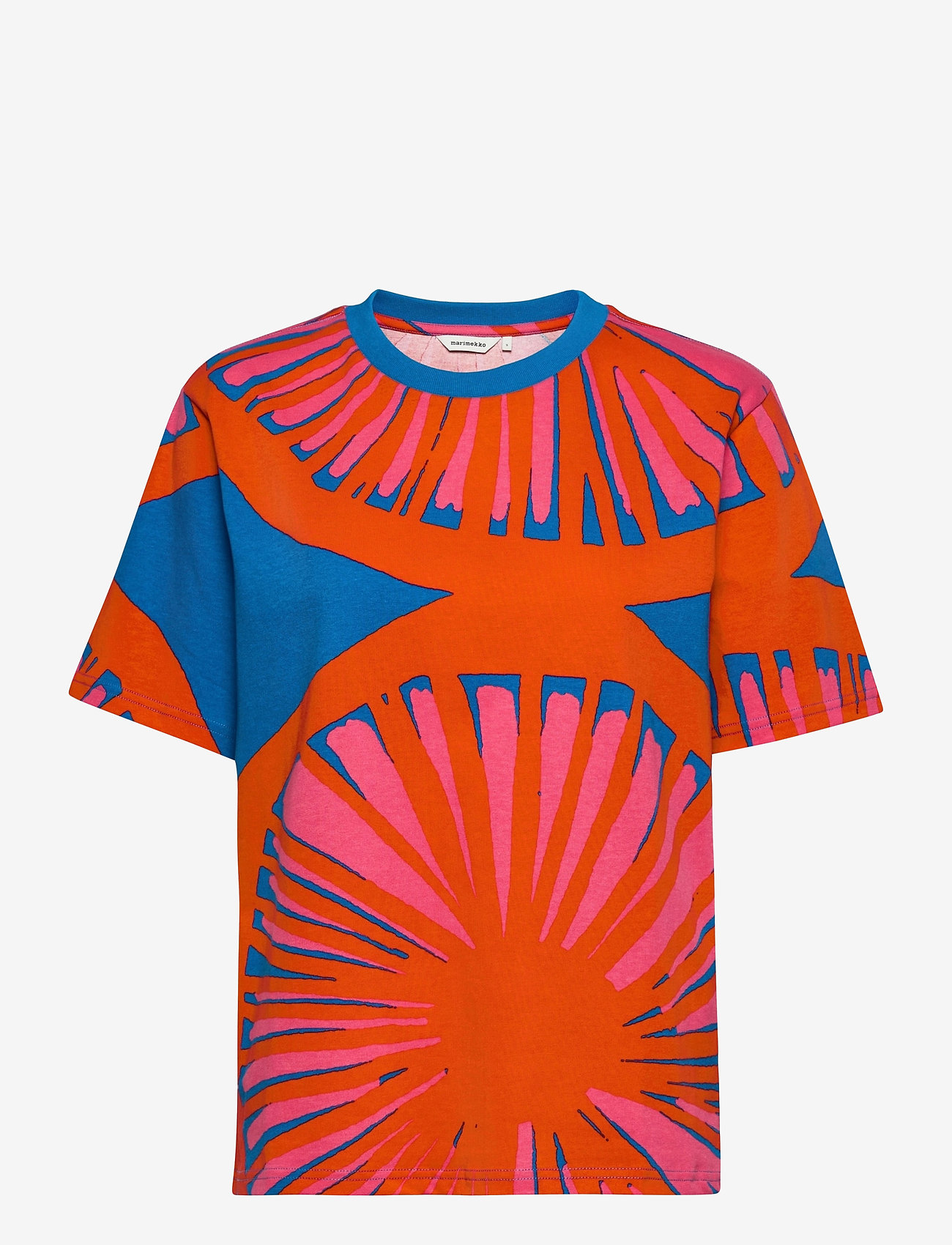 Marimekko - KUUSIKKO APPELSIINI T-SHIRT - t-shirts - bright blue, orange, pink - 1