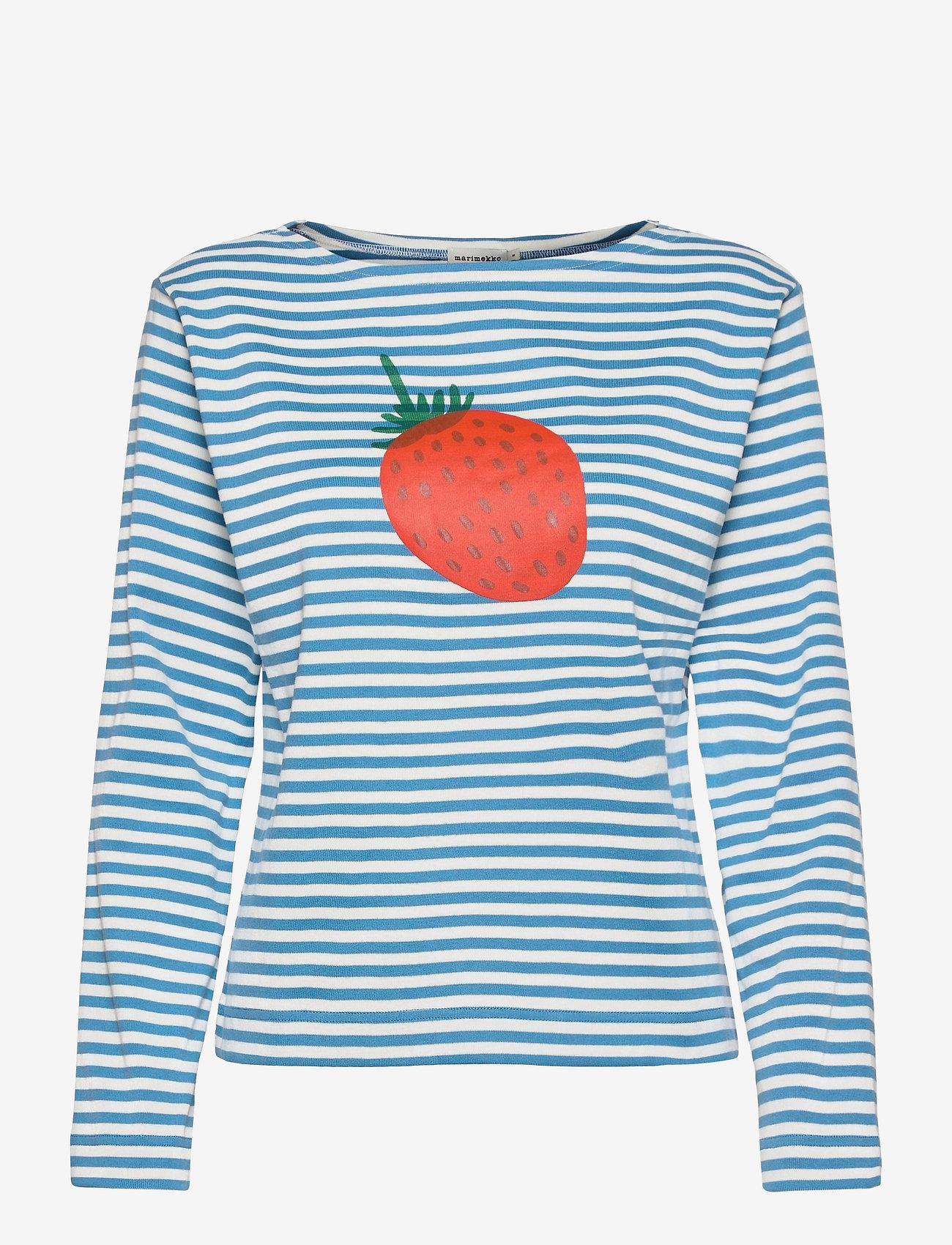 Marimekko - LEIKITTELIT MANSIKKA PLACEMENT SHIRT - langærmede toppe - off white, blue, red - 1