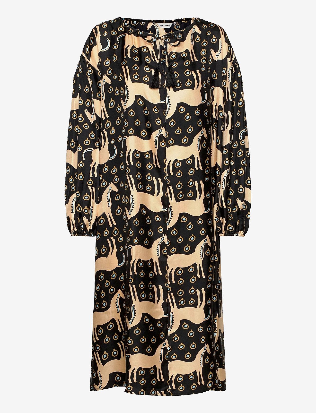 Marimekko - YHDESSÄ MUSTA TAMMA DRESS - hverdagskjoler - black, beige, blue - 0