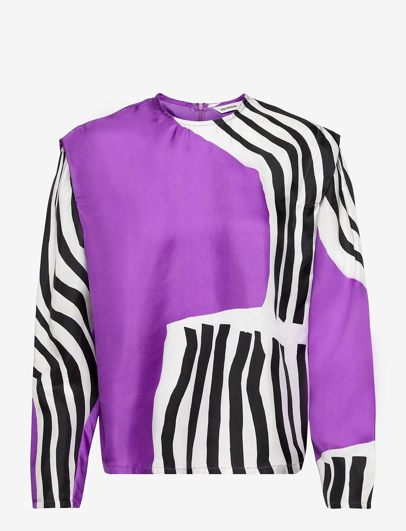 Marimekko - HUMISEE VUOLU SHIRT - langærmede bluser - violet, off-white, black - 0