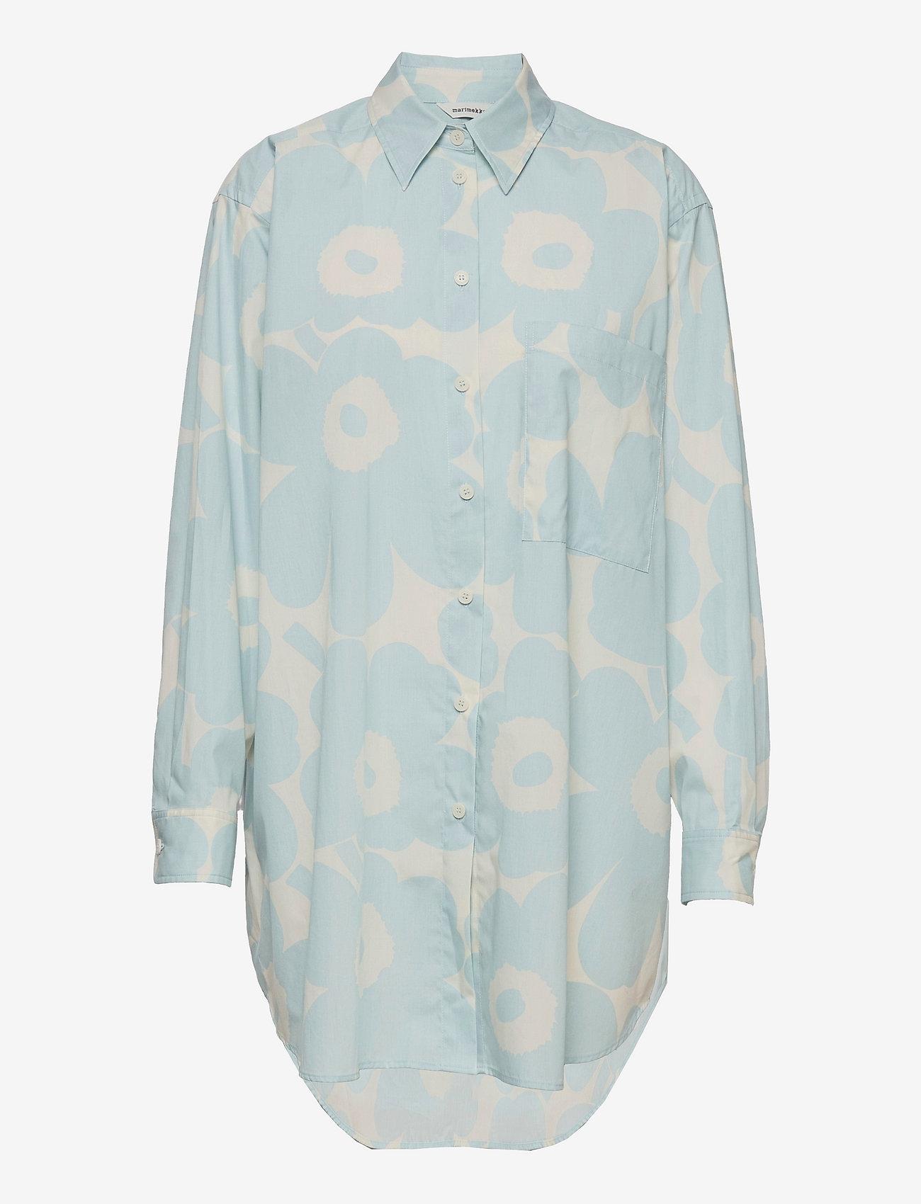Marimekko - NORKKO PIENI UNIKKO 2 SHIRT - langærmede skjorter - off-white, light blue - 0