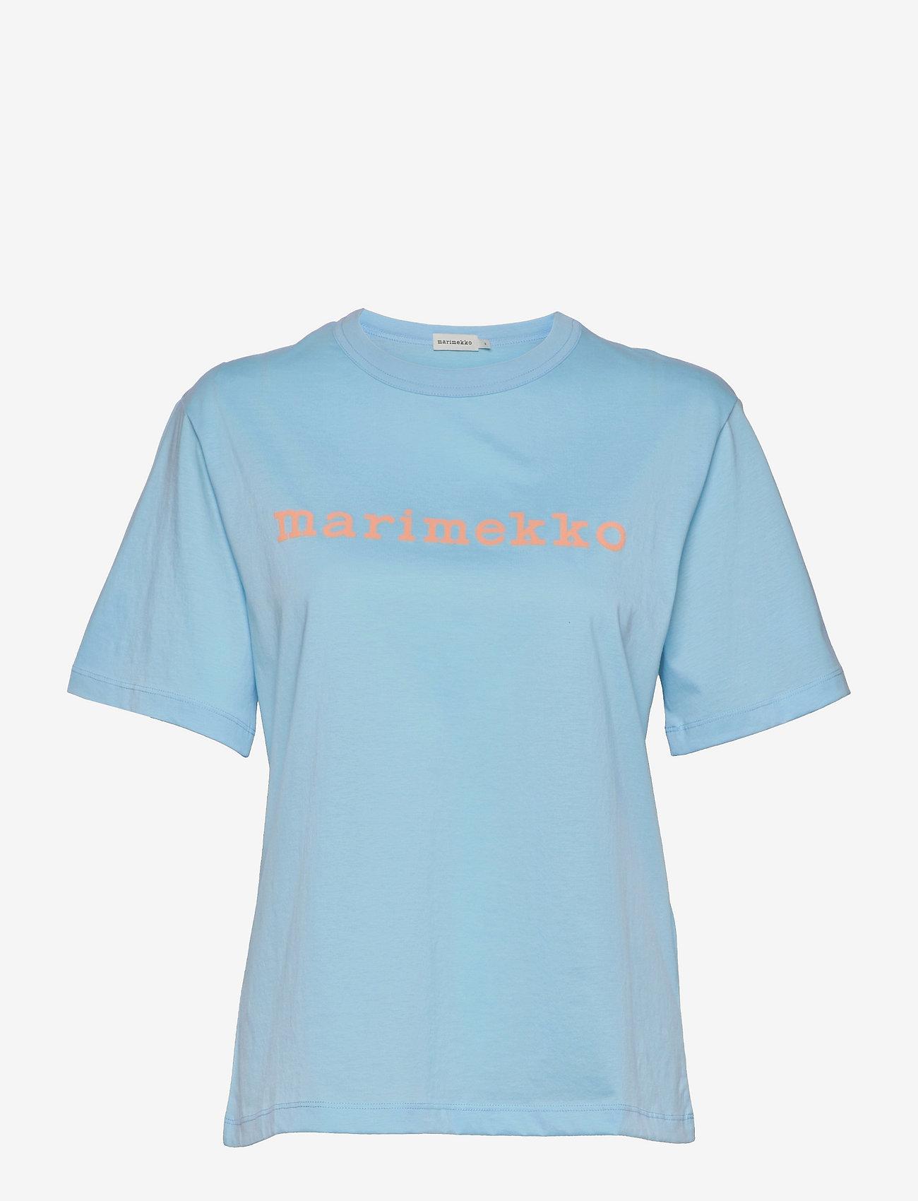 Marimekko - KAPINA LOGO T-SHIRT - t-shirts - light blue, light peach - 0