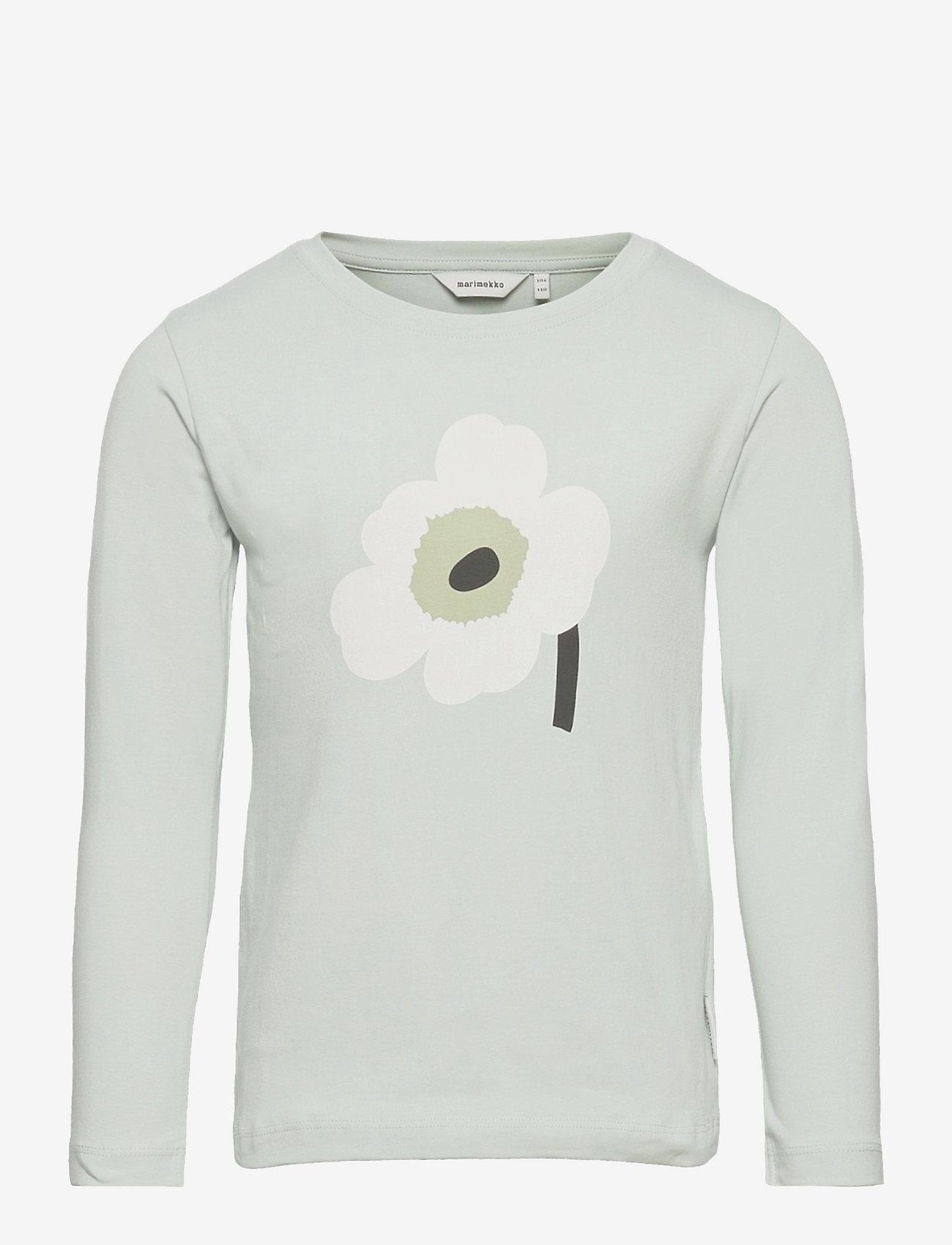 Marimekko - OULI UNIKKO PLACEMENT - langærmede t-shirts - light blue, off white, light green - 0