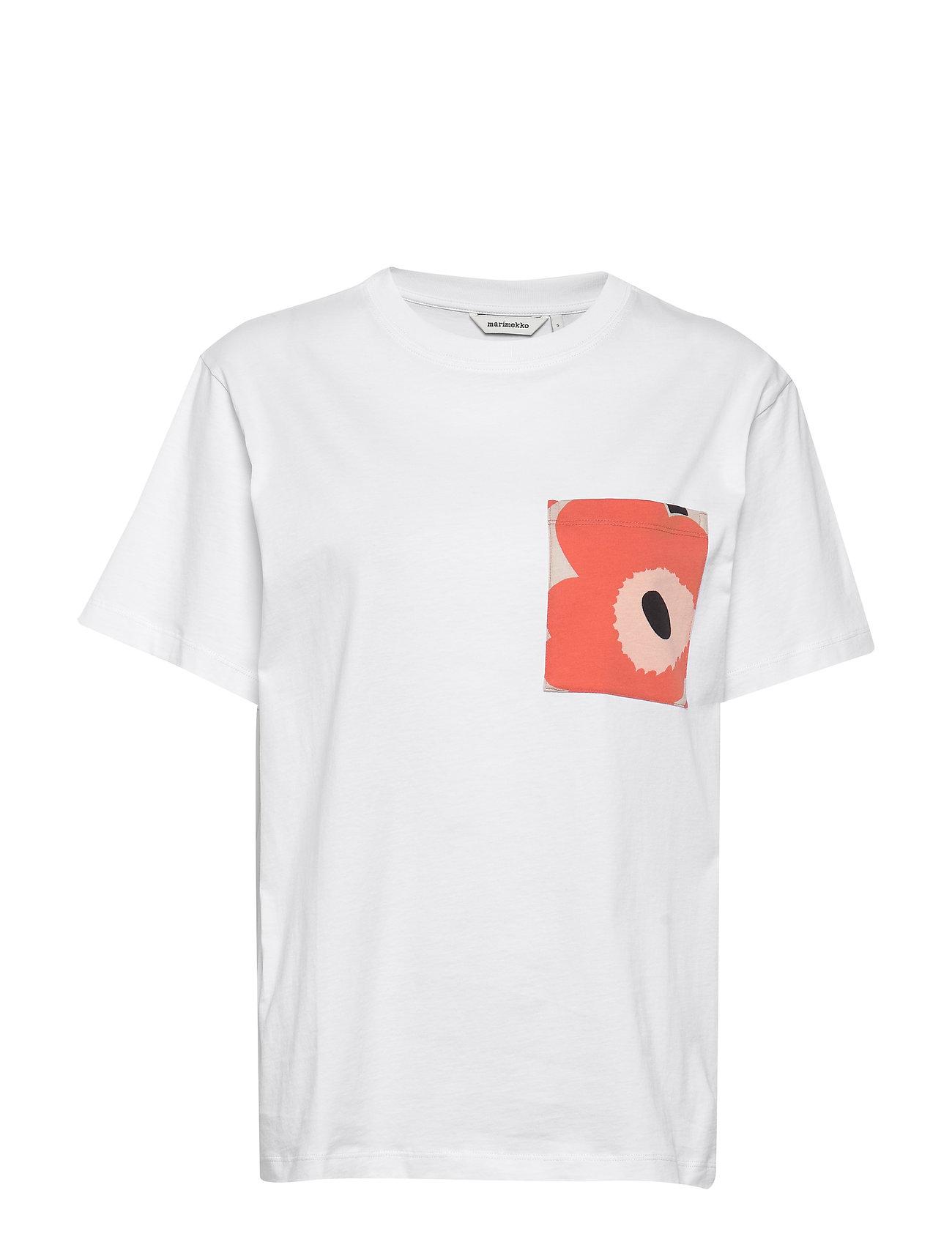 Marimekko HIEKKA SOLID T-shirt - WHITE, ORANGE