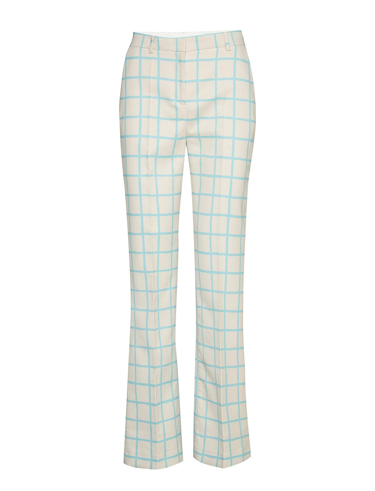 Image of Laatta Iso Ruutu Trousers Bukser Med Lige Ben Creme Marimekko (3423452073)