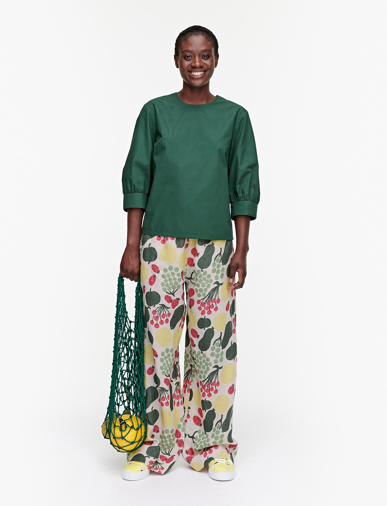 Marimekko - HUOMEN SOLID SHIRT - kortærmede bluser - dark green - 0
