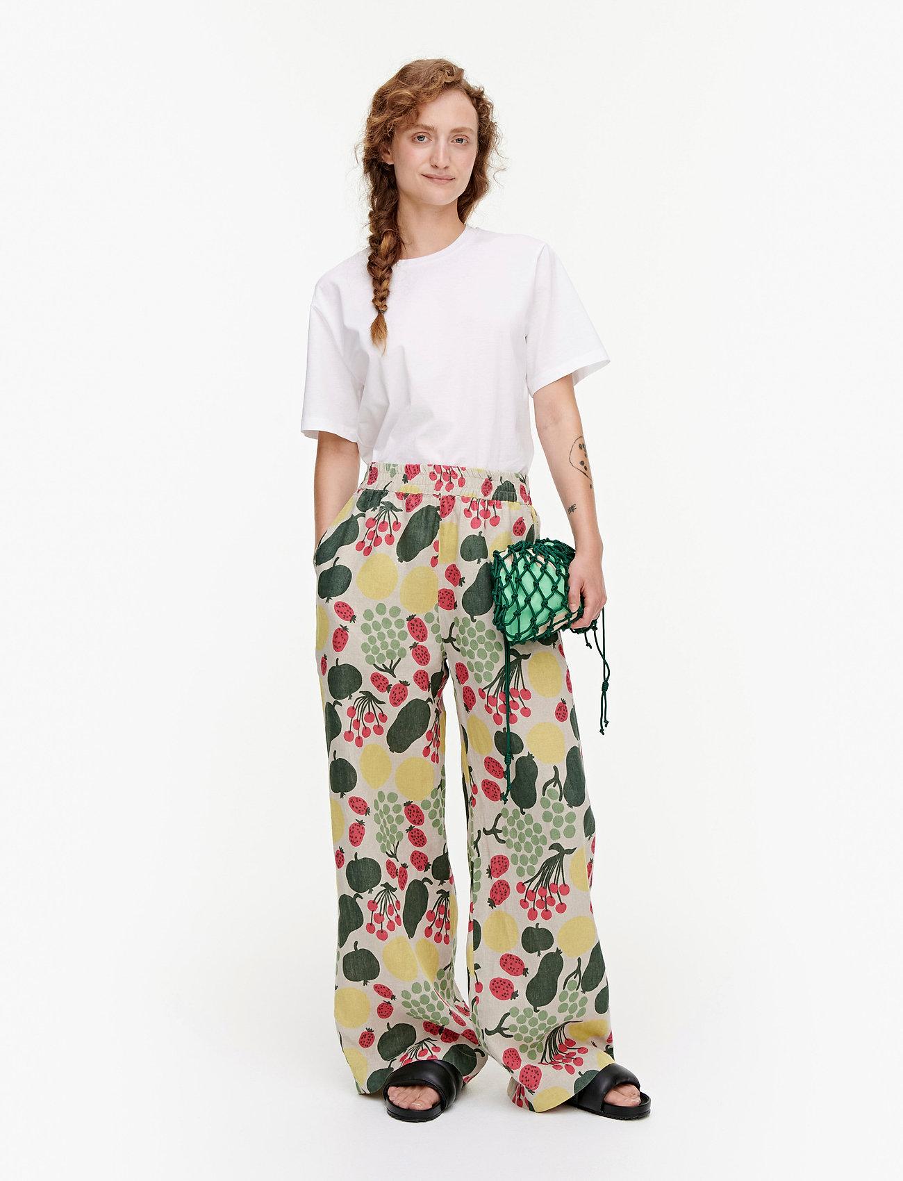 Marimekko - KUKKINUT PIENI TORI TROUSERS - bukser med brede ben - green, rose, yellow - 0