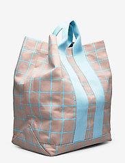 Marimekko - KAINO ISO RUUTU BAG - casual shoppers - beige, turquoise - 2