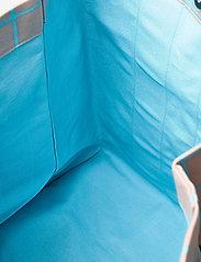 Marimekko - KAINO ISO RUUTU BAG - casual shoppers - beige, turquoise - 4