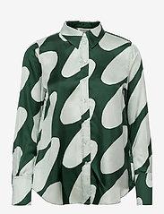 Marimekko - TOIVEIKAS LINSSI SHIRT - langærmede skjorter - light green, dark green - 0