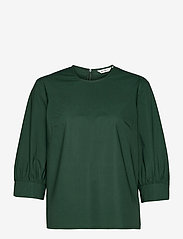 Marimekko - HUOMEN SOLID SHIRT - kortærmede bluser - dark green - 1