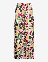 Marimekko - KUKKINUT PIENI TORI TROUSERS - bukser med brede ben - green, rose, yellow - 1