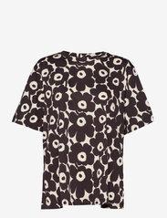 Marimekko - KAUTTA MINI UNIKKO T-SHIRT - t-shirts - light beige, dark brown - 0