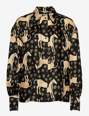 Marimekko - SIIVEKÄS MUSTA TAMMA SHIRT - langærmede skjorter - black, beige, blue - 0