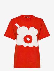 Marimekko - HIEKKA UNIKKO PLACEMENT T-SHIRT - t-shirts - red, off white - 0