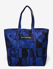 Marimekko - PERUSKASSI RUUTU-UNIKKO BAG - tote bags - blue,blue - 0