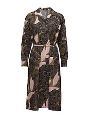 SANIDIINI AMUR Coat dress - BROWN, PEACH, DARK BLUE