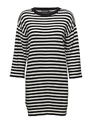 TÄHKIÖ TASARAITA Knitted tunic - OFF WHITE, BLACK