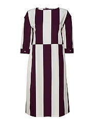 ALIISSA TASAPALKKI Dress - OFF-WHITE, DARK PURPLE