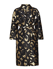 VALOA Coat dress - BLACK, GOLD